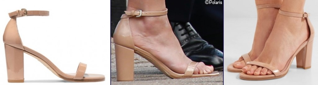 Kate Middleton shoes Stuart Weitzman Nearly Naked Sandals nude patent block heel