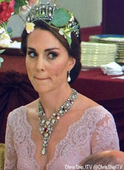 Duchess Cambridge State Banquet Spain Tiara Marchesa Gown