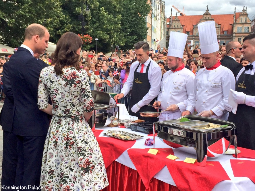 Kate William Gdansk Duchess Erdem hurst rose separates Royal Tour poland germany