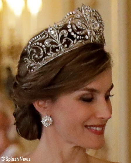 Spain State Banquet Royal Jewellery pictures Letizia Tiara