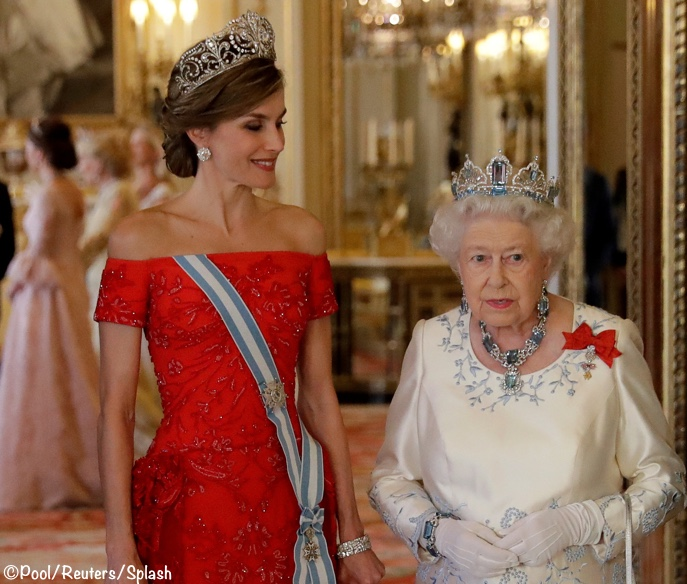 Pictures Queen Letizia Elizabeth Spain Banquet Royal Jewels Tiaras Diamonds