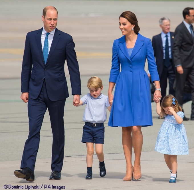 Royal tour Germany Berlin Airport Kate Blue Catherine Walker George Charlotte William 2017