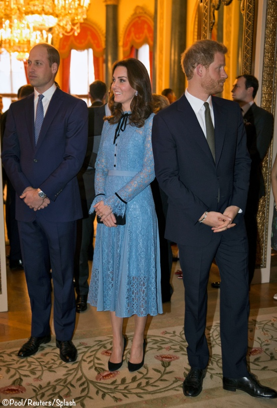 Britain S Prince William Duke Of Cambridge Catherine Duchess Of Cambridge And Prince Harry Celebrate World Mental Health Day At Buckingham Palace In London What Kate Wore