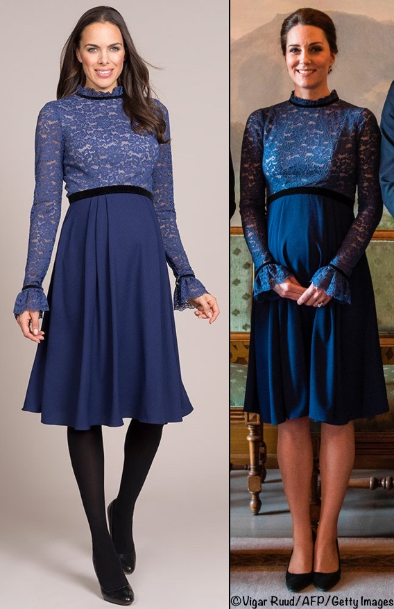 The piece features a lace bodice and sleeves, ruffled collar and cuffs,  solid blue skirt, black trim at the waist, collar and cuffs, and a  concealed back ...
