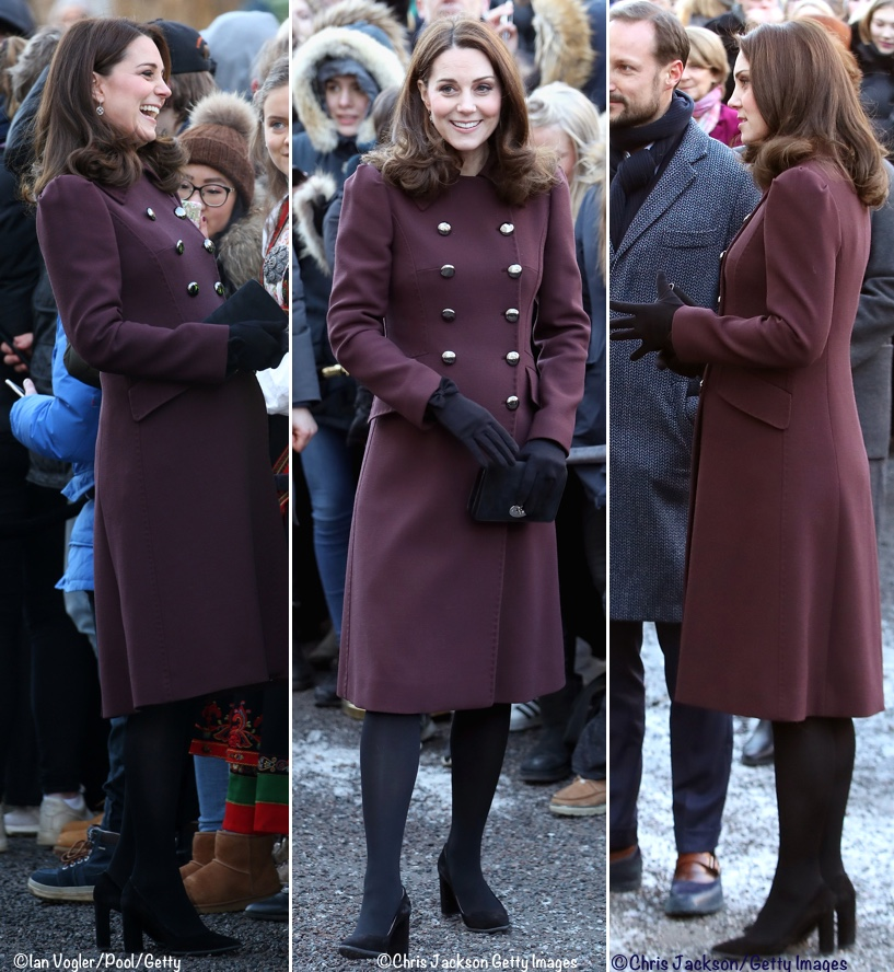 We show the coat in black at Farfetch ($1873); I've not been able to locate  it in Kate's plum color. (The photo on the far left has been digitally  lightened ...