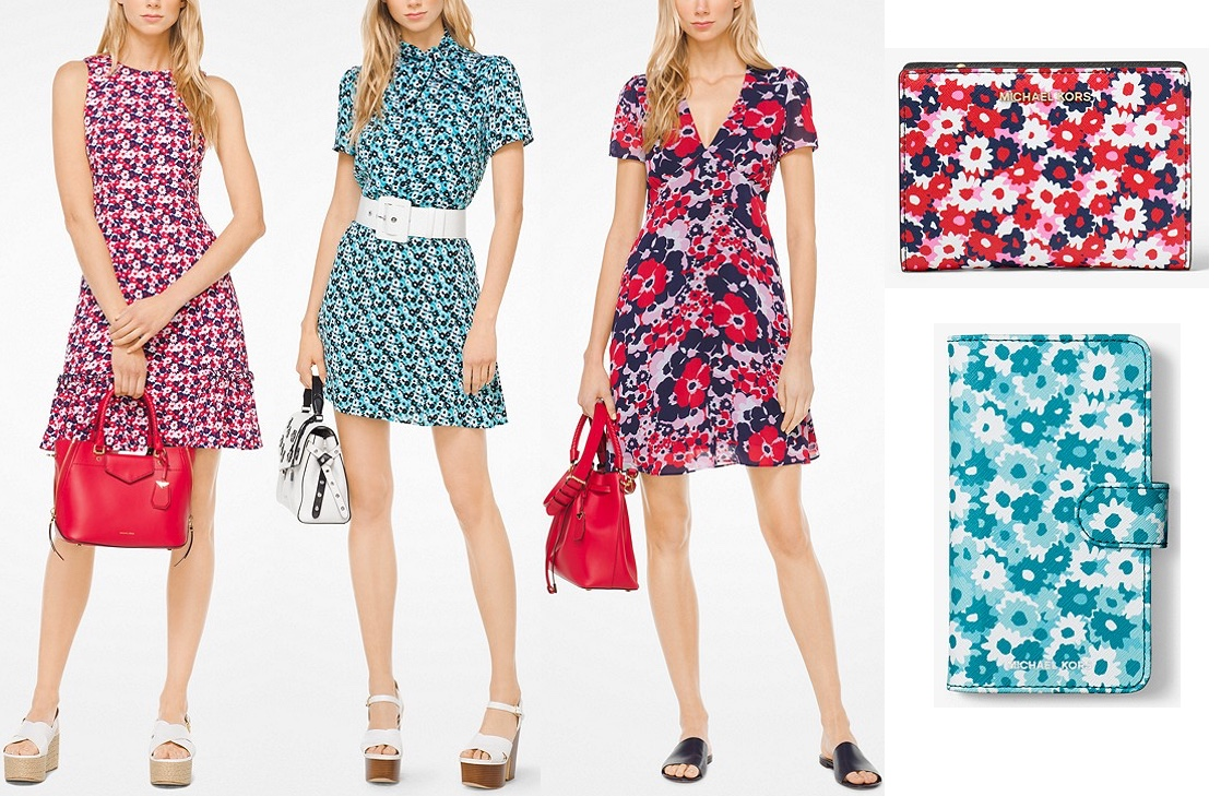 b4e12d63aa0c ... separates in a tile blue and black colorway  the Floral Georgette Dress  ( 140) showcases the larger-size version of the print in the pink and navy   ...