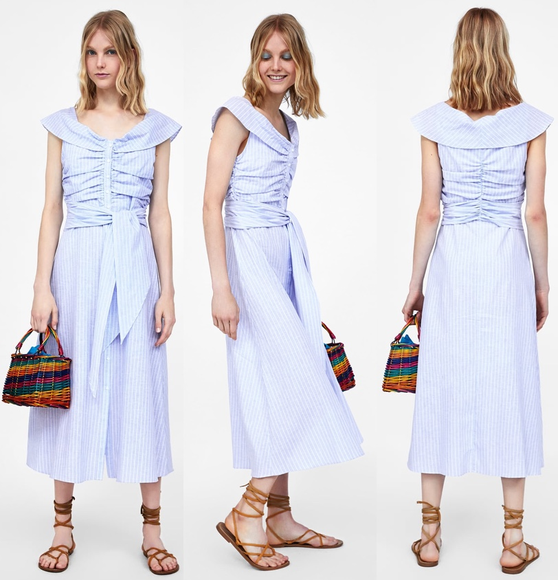 83a69bfc The Duchess was in a style from Zara, the retailer's Striped Off the  Shoulder Dress ($69.90). It is made of a cotton/linen blend that is a good  summer ...