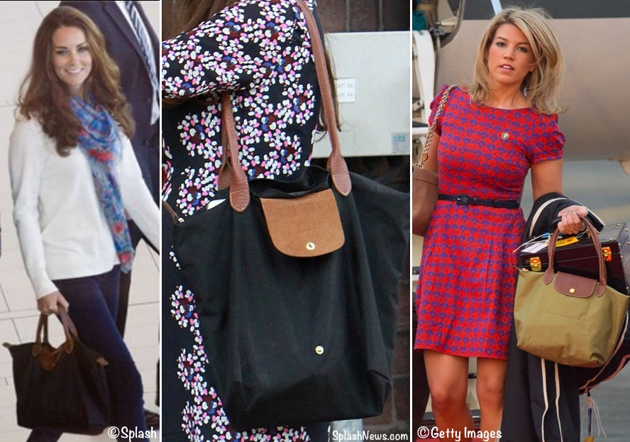 94aecd9feb79 Kate and Natasha wear many of the same brands and sometimes even the same  items. One example of this  the Longchamp Le Pliage tote.