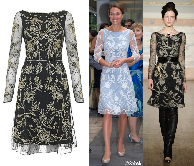 ec59422a274 ... featuring the same bateau neckline and sheer overlay. The only design  difference of note; Kate's sleeves are three-quarter length as opposed to  the ...