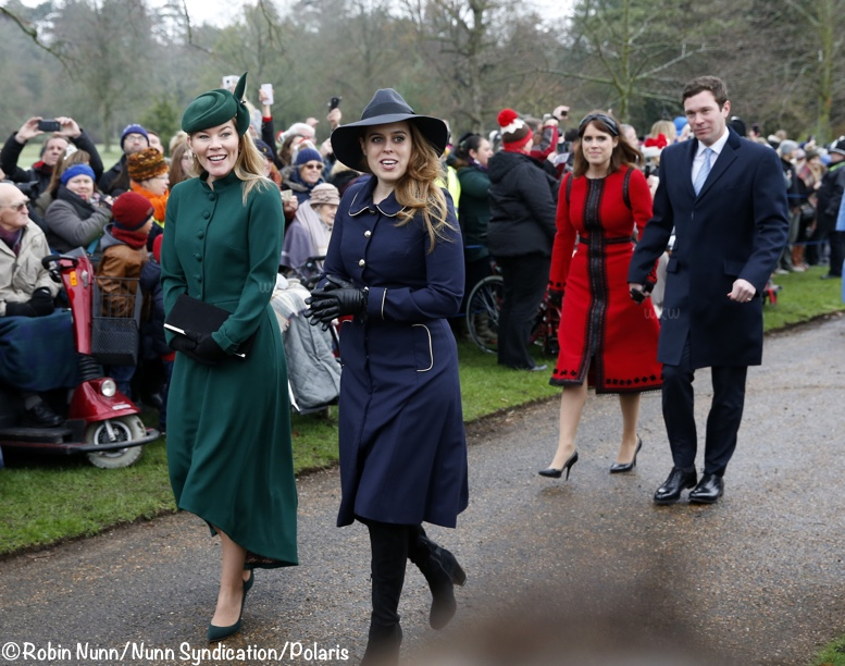 84cdbafe1611 It was a brisk morning for the short walk. Below you see Autumn Philips, Princess  Beatrice, Princess Eugenie and her husband, Jack Brooksbank.