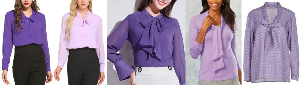 8706fe375fdc0 ... Blouse ($25.50) in purple and lavender at Amazon; the Tie Neck Work  Chiffon Blouse ($55.94) at Stylewe; a Tie Neck Sweater ($19.99) at  Chadwick's; ...