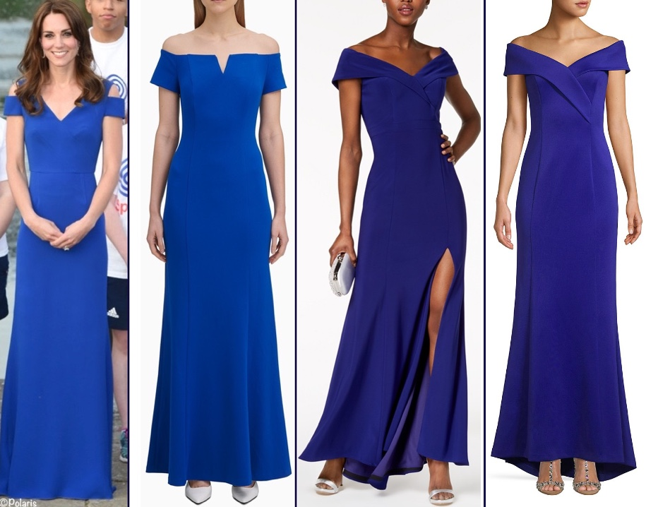 fd249c865cb188 On the right, the Eliza J Hi-Low Off the Shoulder Mermaid gown; it is $131  at Lord & Taylor with promo code FRIENDS; it is also at Bloomingdale's  ($113).