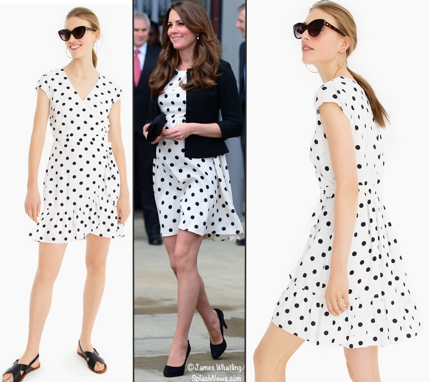 f0b4af12bc0 APR 9  For Kate s polka dot Topshop dress we offer the Mini Dress in Soft  Rayon Polka Dots (roughly  47 with promo code REFRESH) as seen at J. Crew.