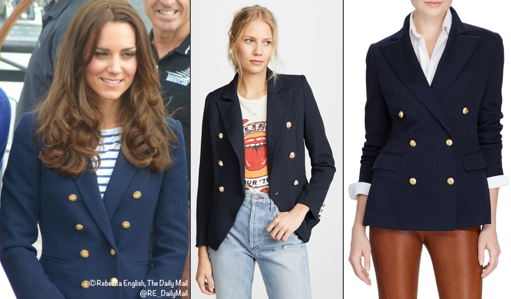 RepliKates for Navy Zara Double Breasted Blazer Gold Buttons