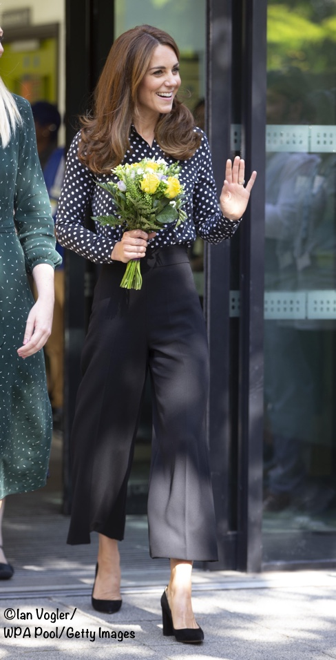 The Duchess in Cropped Trousers & Polka Dots for Visit to