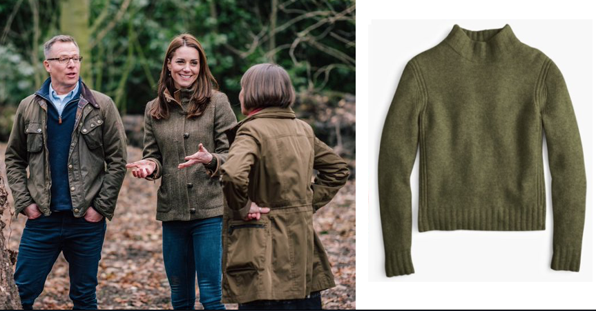 Kate Middleton Loden Green J Crew Mockneck
