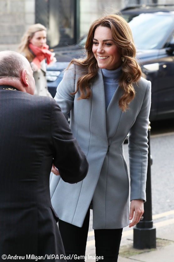 Kate Middleton Social Bite Blue Grey Reiss Delaney Coat Scotland