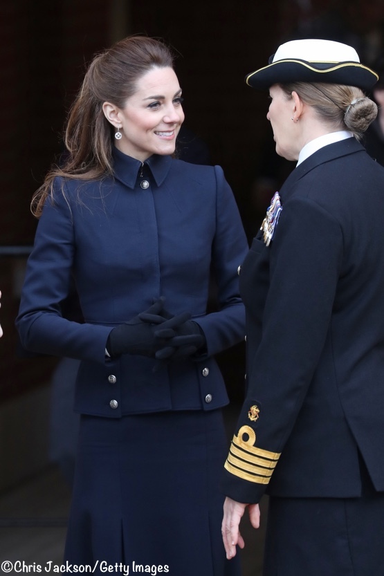 Duchess Kate Navy McQueen Suit Defence Rehab Centre Feb 2020