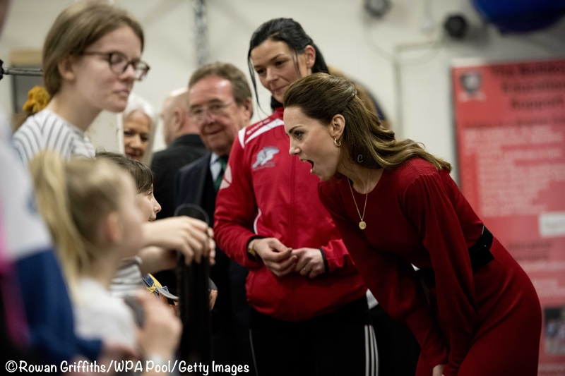Duchess Catherine Kate Funny faces Bulldogs Boxing Wales