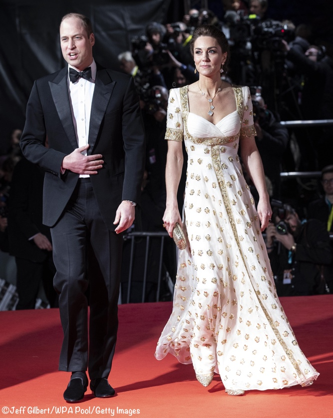 Duke Duchess Cambridge 2020 BAFTA Awards gold white McQueen repeat