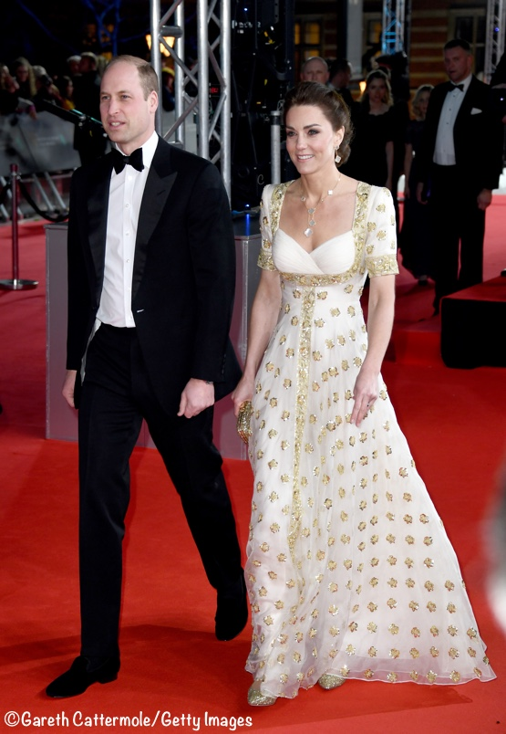 Kate Middleton 2020 BAFTAs Awards Cream Gold McQueen Gown