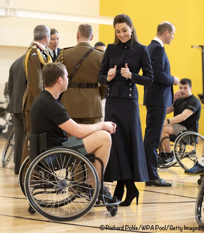 Kate Middleton Navy McQueen Suit Defence Rehab Centre feb 11 2020