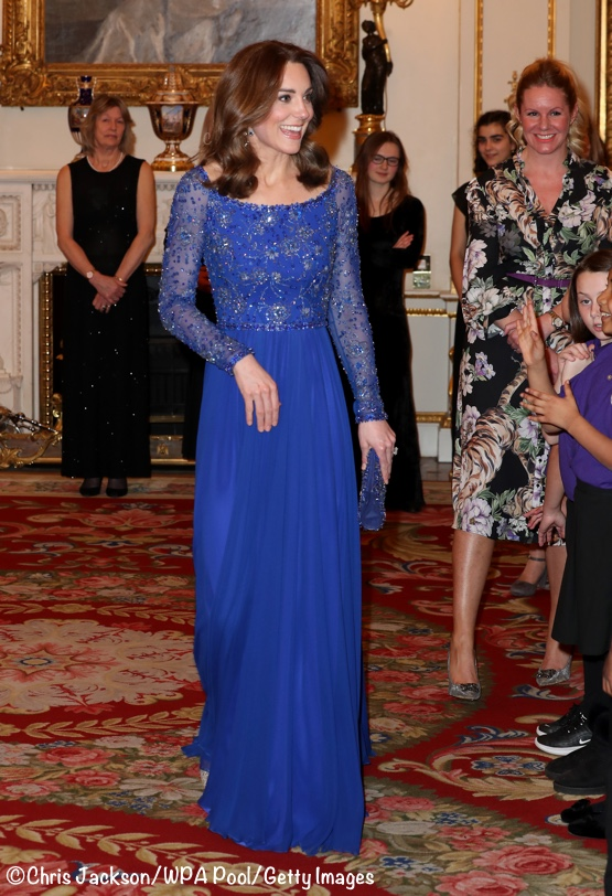 Kate Middleton blue beaded Jenny Packham Gown Place2Be 25th Anniversary