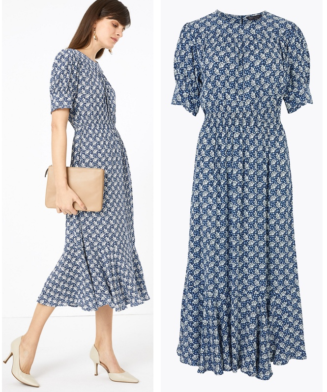 Marks Spencer Kate Middleton Cabbage Print Yoked Midi Waist Dress