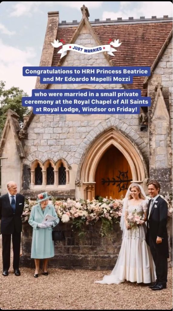 Princess Beatrice In Queen S Vintage Gown For Private Wedding