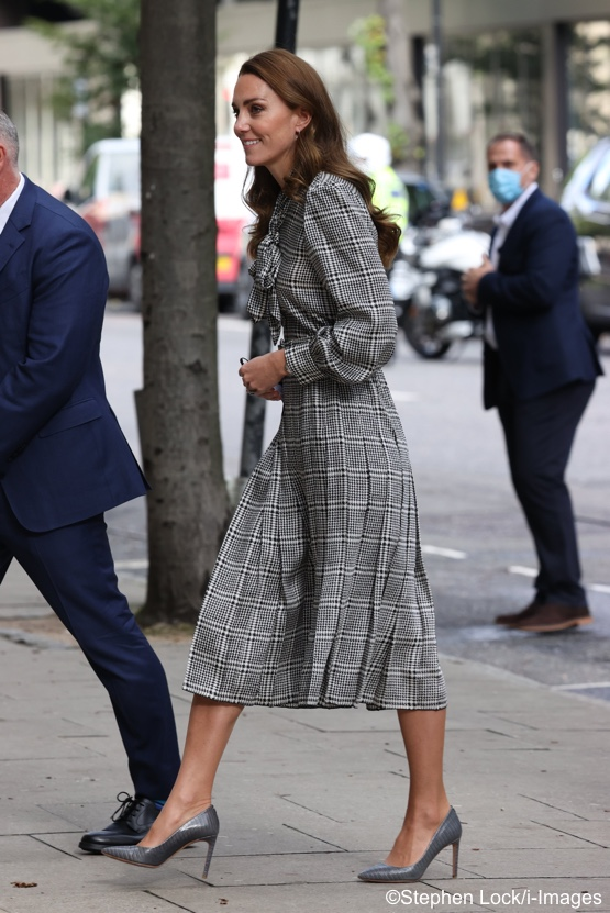 The Duchess in Familiar Pieces for London Engagement & Jenny Packham's 007 Gowns